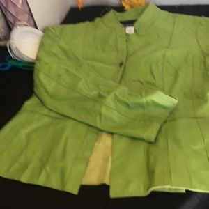 Green leather jacketsize14